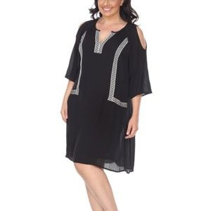 Black/White Plus Size Midi Dress PS863-01